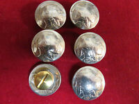 Conchos: 6 Real Coin High Grade  Indian Nickles, Post & Screw