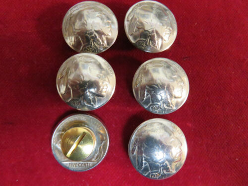 """6 Real Coin High Grade /"""" Indian/""""  Nickles Post /& screw CONCHOS"""