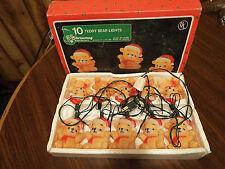 Vintage 1987 House of Lloyd 10 Teddy Bear Christmas Lights on a String