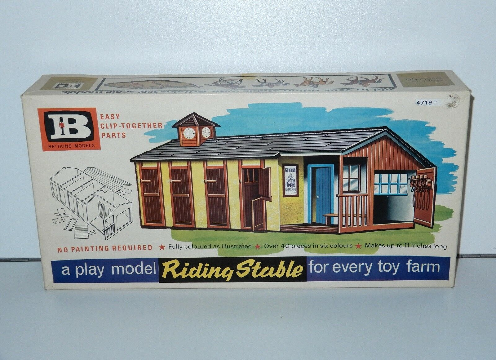 BRITAINS FARM No 4719 RIDING STABLE MIB SEALED CONTENTS 1 32 1960s HTF