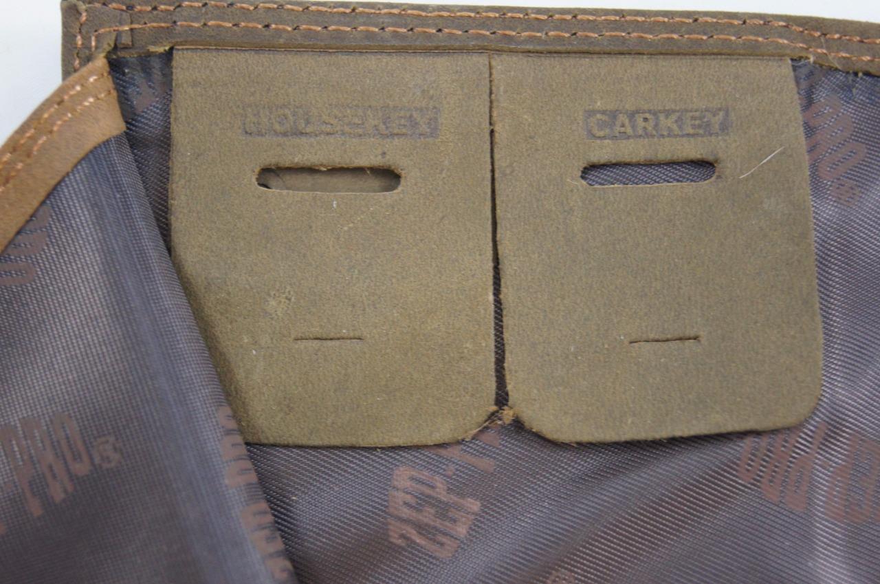 ZEP-PRO NCAA Nebraska Huskers Roper CRAZY HORSE Leather Wallet BURLAP GIFT Bag