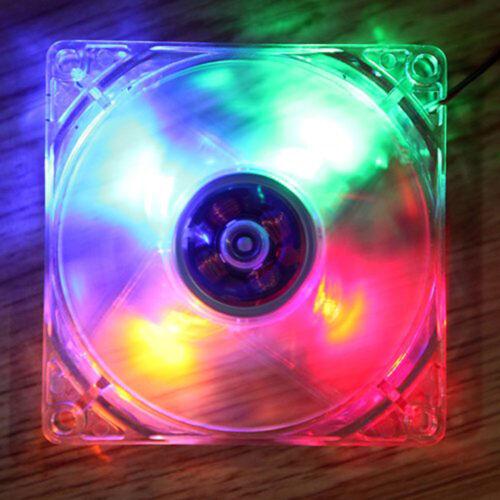 4 Pin 120mm 12cm CPU PC Computer Cooler Quad 4-LED Light 9-Blade Cooling Fan