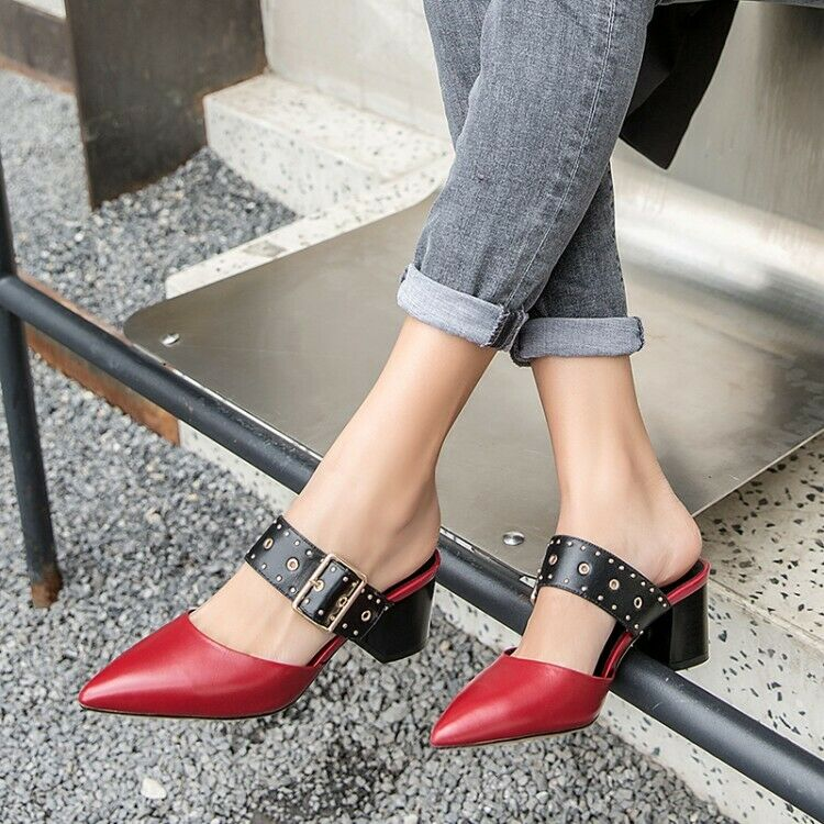 Womens Pointy Toe Buckle Strap Slip On Backless Mules Rivet Block Heel shoes Hot