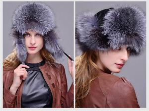 Real Fox fur Sheepskin leather Trapper Hat Women Winter Snow Cap ... 9cdefcd9ac25