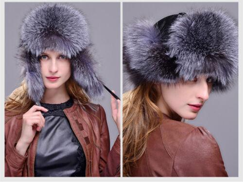 Real Fox fur Sheepskin leather Trapper Hat Women Winter Snow Cap Russian Fur Hat