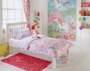 KIDS SINGLE UNICORNS PINK WHITE COTTON BLEND DUVET COVER SET & CURTAINS