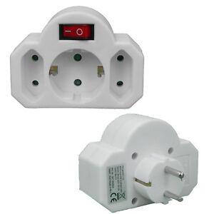 multistecker 2 1 mit schalter mehrfachstecker steckdosenadapter kindersicherung ebay. Black Bedroom Furniture Sets. Home Design Ideas