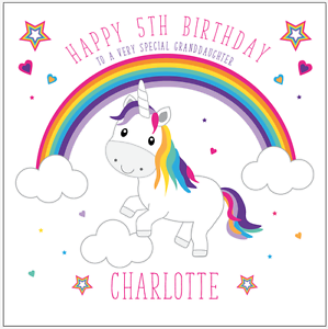 unicorn BIRTHDAY CARDS personalised name age GRANDDAUGHTER DAUGHTER GIRLS