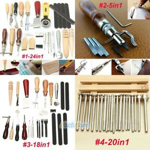 24Pc Vintage Leather Craft Kit Stitching Sewing Beveler Punch Working Hand Tools