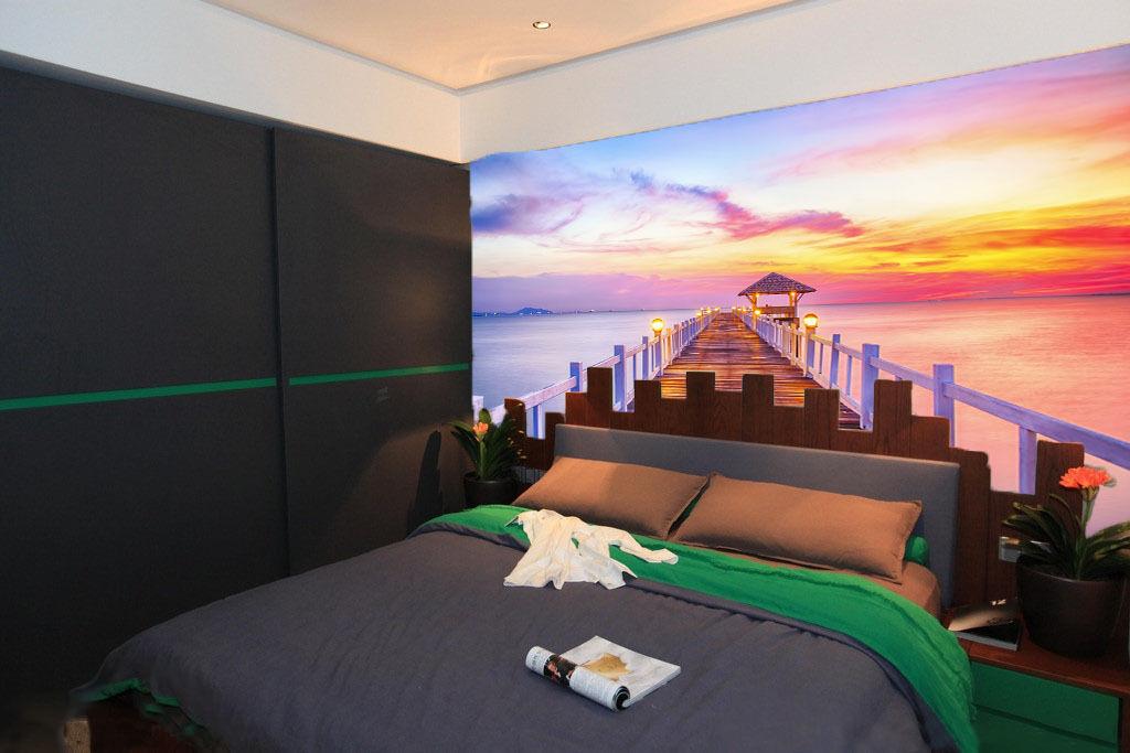 3D Clouds Ocean Bridge Paper Wall Print Wall Decal Wall Deco Indoor Murals