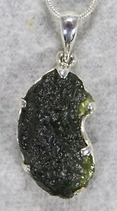 Details about MOLDAVITE PENDANT $89 Tektite Sterling Silver Jewelry  STARBORN CREATIONS MP89-S3
