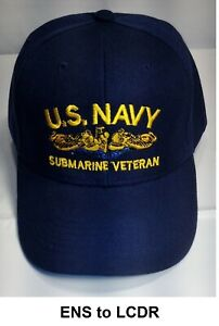 91ec12765 US Navy Submarine Veteran Ball Cap GOLD Dolphins Naval Officer ENS ...