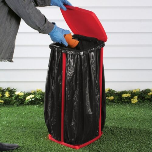 Versatile Portable Trash Bag Holder with Lid Great For Parties or Yard Cleanup