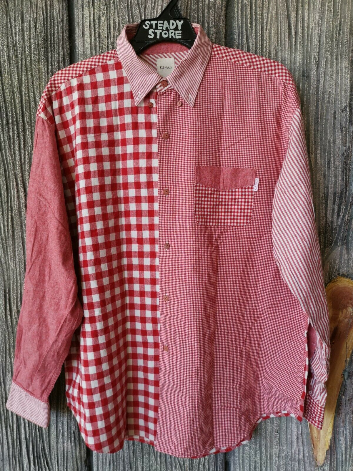 VINTAGE KARL HELMUT PINK HOUSE JAPAN CHECKED DESIGNER BUTTON SHIRT L