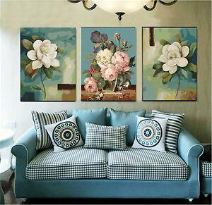 Details Zu 40x50cm Triptychon Malen Nach Zahlen Diy Blumen Malerei Rahmenlos 1870