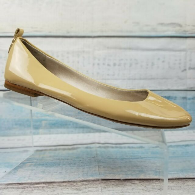 Vince Camuto Benningly Womens Beige Patent Leather Ballet Flats Shoes Size 9.5 M