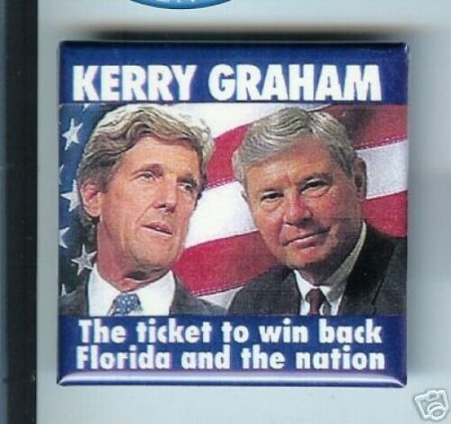 Vintage KERRY + Bob GRAHAM Florida pin 2004 pinback Square button
