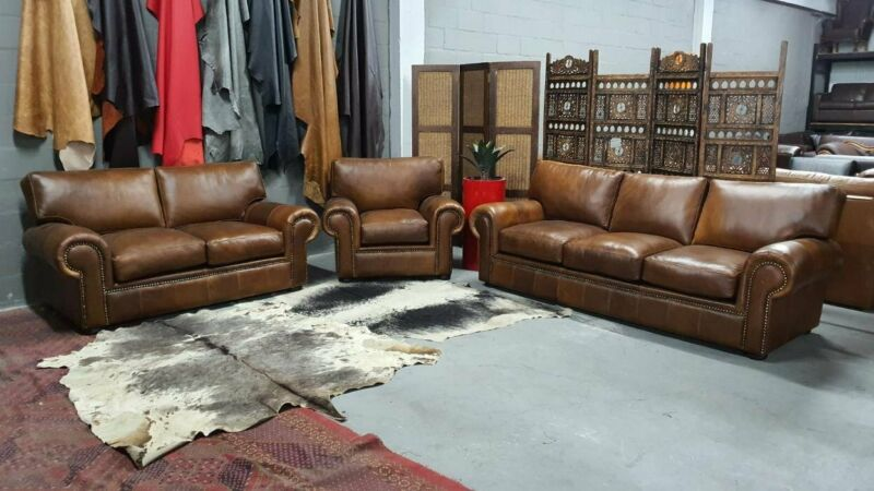 BRONX 3PC  Genuine Leather lounge suite, 3,2 and 1, Excellent Cond, Available