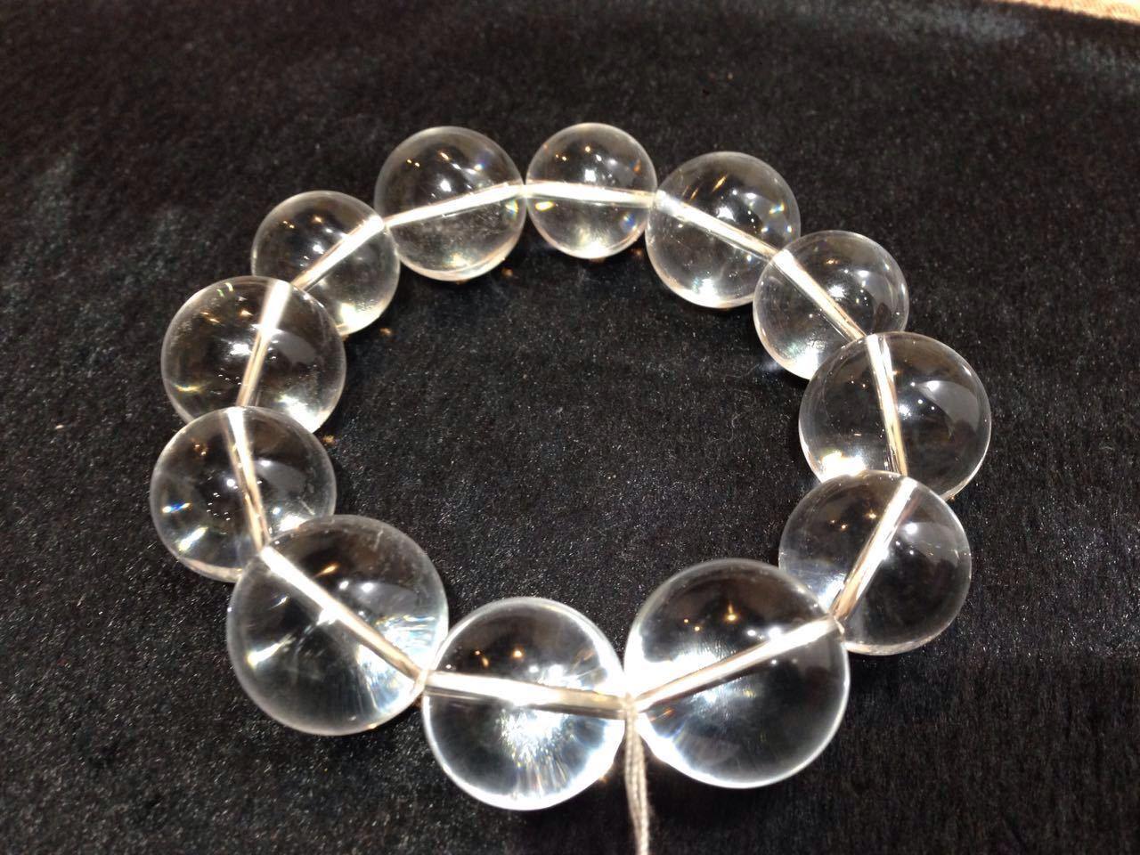 18mm Round Shape Crystal Quartz Stretch Bracelet, 7.5