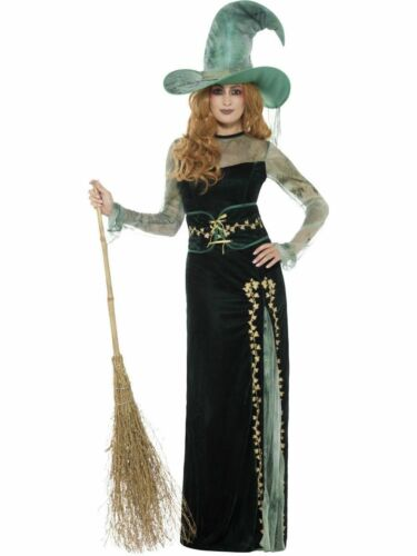 Ladies Deluxe Emerald Green Witch Fancy Dress Witches Halloween Oz Costume S//M//L