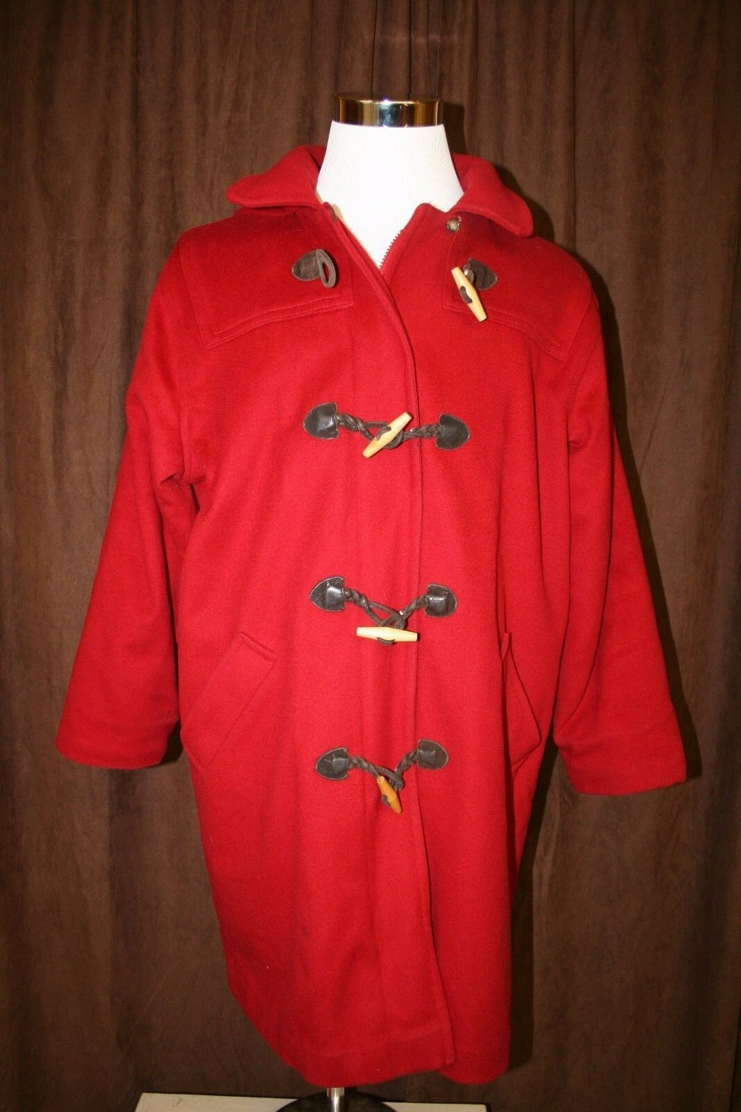Vintage L L Bean Red Wool Toggle Dufflel Coat Heavy Winter Warm Lined Size 14
