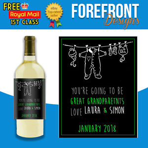 Personalised-New-born-baby-wine-bottle-label-Perfect-Grandparent-parent-Gift