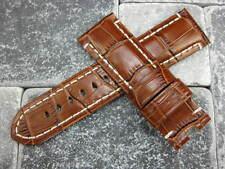 24mm Brown Alligator Grain Deployment Leather Strap Watch Band PAM BR