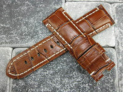 24mm Brown Grain Leather Strap Watch Band Tang Tongue Buckle White Pam 1950  x1