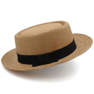 Men Women Straw Pork Pie Hats Porkpie Sunhat Boater Caps Sailor Adjustable Size