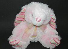 "Atico plush bunny rabbit soft pink striped ears feet polka dot ribbon satin 9"""