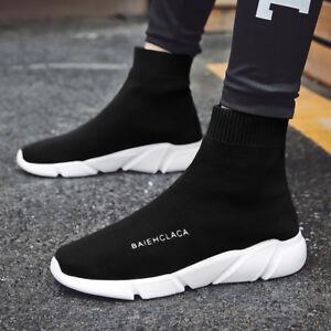 2c68dd53e971 Mens Socks Shoes High Top Mesh Casual Walking Running Sport Sneakers ...