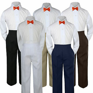 Boys Baby Toddler Kids Orange Tangerine Vest Bow Tie Formal Set Suit Hat S-7