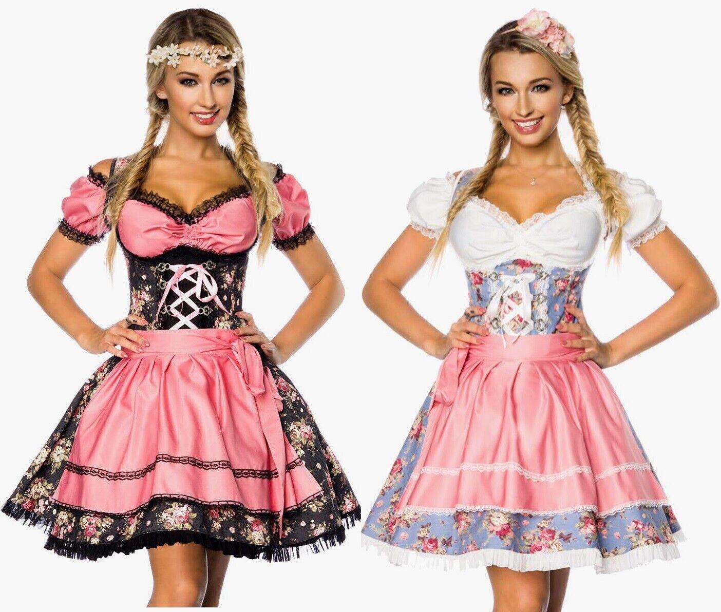Sexy Dirndl Kleid Bluse Schürze Damen Vintage Trachten Mode Oktoberfest S M L XL