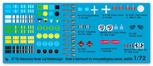 Peddinghaus  1//72 0703 Italienische Panzer und Fahrzeugmarkierungen II WK