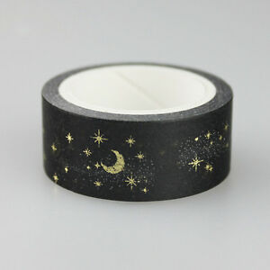 Moon stars black washi paper masking tapes adhesive for Tape works decorative tape