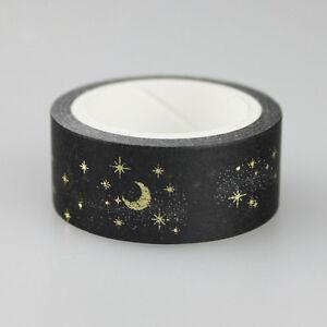 Black-Moon-Stars-Paper-Sticky-Adhesive-Sticker-Decorative-Washi-Tape-1-5cm-Spsj