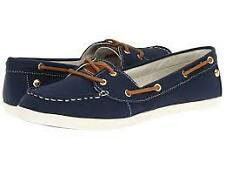 BRAND NEW IN BOX SEBAGO FAYETTE TIE NAVY BLUE CANVAS CASUAL BOAT SHOES 7 / 37.5