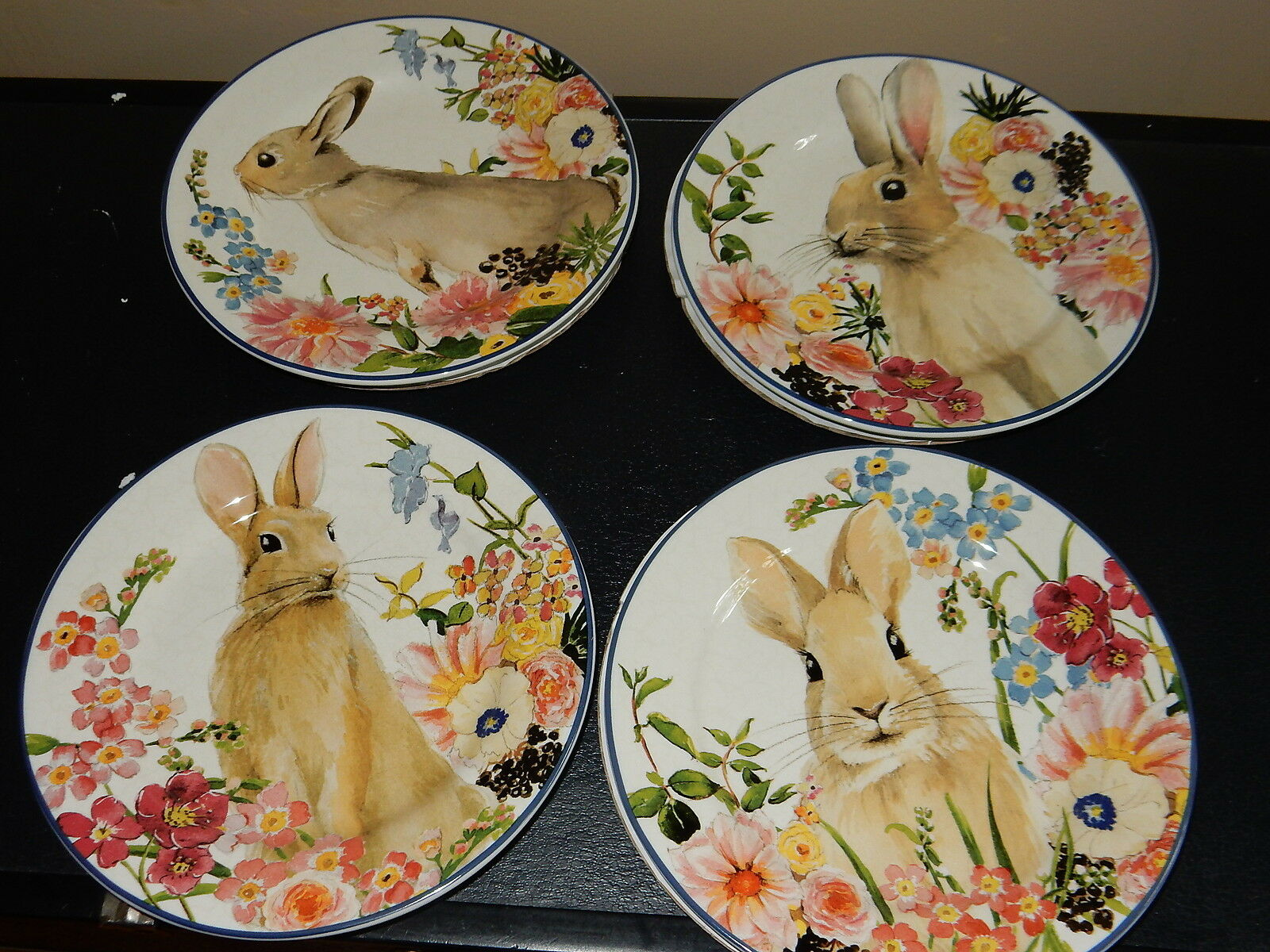 Pottery Barn Flora Bunny assiettes à salade Lot de 4