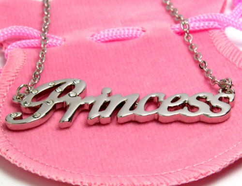 18ct White Gold Plated Name Necklace PRINCESS Birthday Appreciation Identity