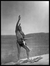 "Sioux Native American, Breechcloth, pipe, Proud Indian, antique, 20""x16"" photo"