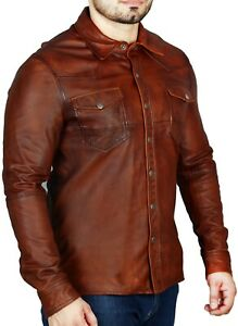 Mens-Shirt-Jacket-Rustic-Brown-Soft-Genuine-Lambskin-Washed-Waxed-Leather-Shirt