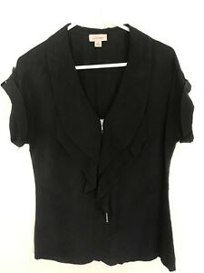 WITCHERY-100-SILK-black-Ruffle-Zip-Blouse-Shirt-Top-Tshirt-Sz-8-Xs