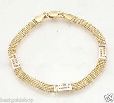 "7.25"" 5 Row Ball Chain Bracelet Greek Key Stations REAL 14K Yellow White Gold"
