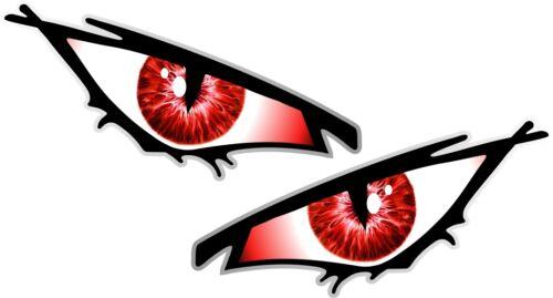 Pair Of EVIL Eyes Eye RED IRIS car Motorbike Helmet Drone Quad Sticker 70x35mm