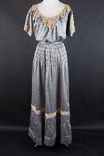 VTG XS/S Late 1800s Early 1900s Edwardian Era Blue Silk Coordinated Set #1063