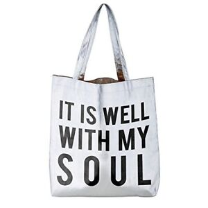 5552bc3894bc Details about It Is Well With My Soul Silver 16 x 14.5 Inch Polycotton  Shoulder Tote Bag