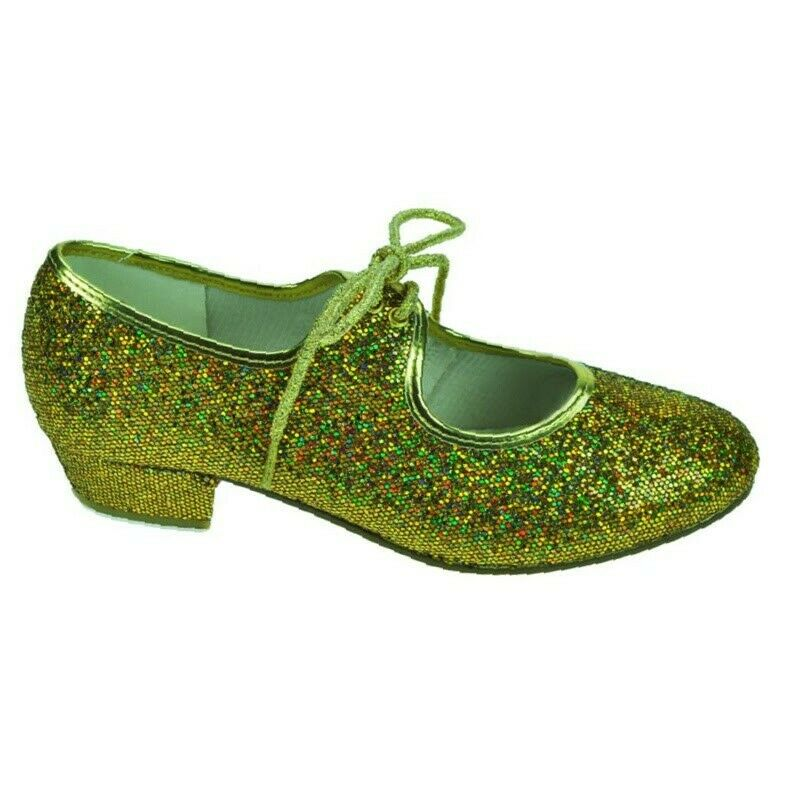 Starlite Maisie low heel tap shoes with heel and toe taps Gold sparkle UK1