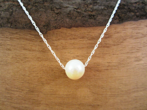 YOLLA Genuine Natural Pearl and Pure Sterling Silver Chain Necklace