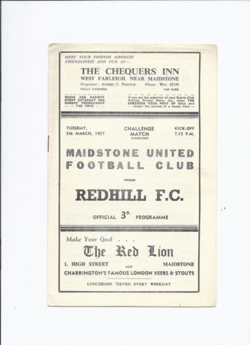 Maidstone United v Redhill 5 March 1957 Foodlight Challenge Match Friendly