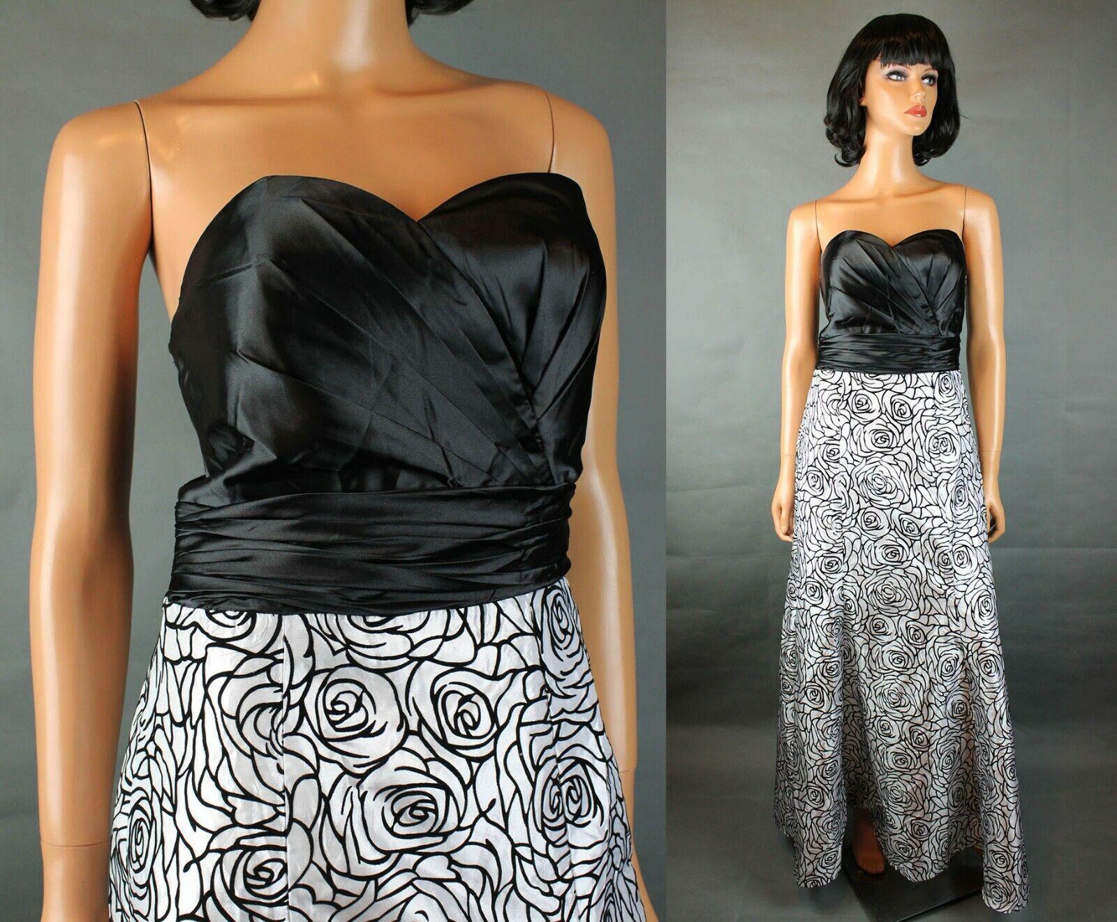 Neuf avec étiquettes Ever jolie robe 6 s Longue Buscravater Noir Blanc Floral Satin Prom Robe